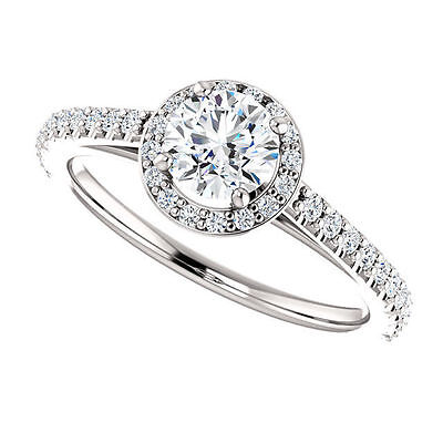 3/4 ct tw Round Cut Solitaire Diamond Halo Styled 14K White Gold Engagement Ring
