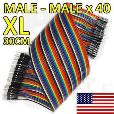 Extra Long 30cm Jumper Wires DuPont Male - Male 40 pcs Ribbon Arduino Electronic