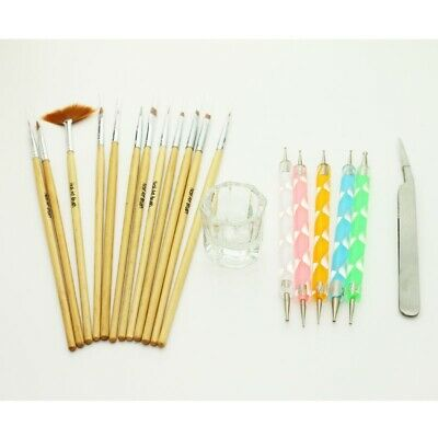 Nail Art Design Set Dotting Painting Drawing Brush Pen Glass Cup Tweezer Tools