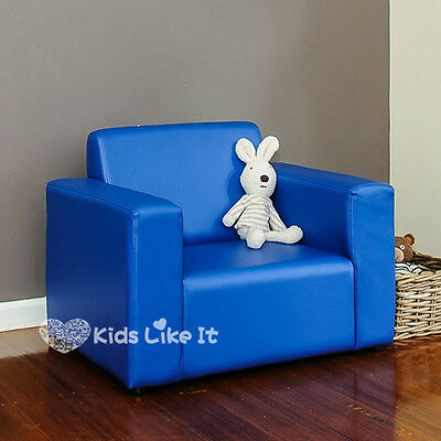 KIDS BOYS Blue Timber PVC Leather SOFA Couch ARM CHAIR BEDROOM Furniture 2 COLOR