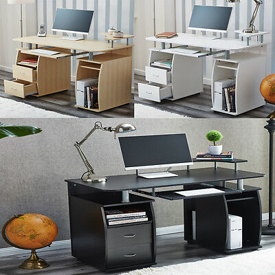 RayGar Deluxe Computer Desk With Shelves and 2 Drawers for PC Home Office Table