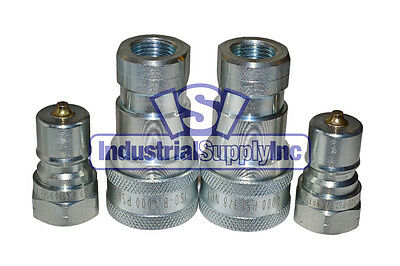 "2-pk 3/8"" ISO 7241-B Hydraulic Hose Quick Disconnect Coupler"