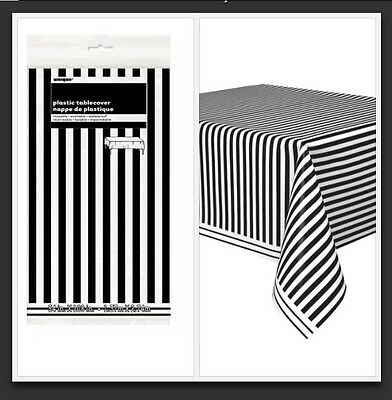 1 x Black & white Stripe Plastic Tablecloth Party Supplies Birthday Baby Shower