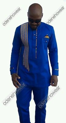 Odeneho Wear Men's Blue Polished Cotton Top And Bottom. African Clothing.