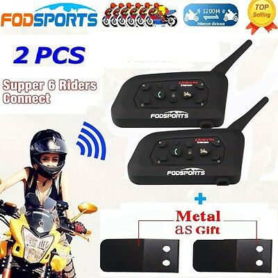 2pcs 1200M BT Motorcycle Helmet Bluetooth Moto Multi Intercom Headset 6 Riders