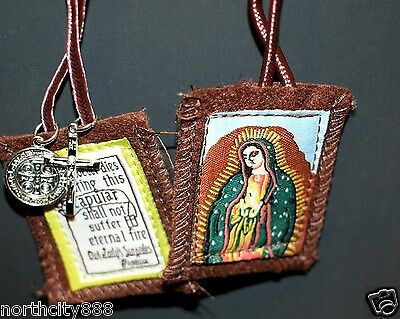 Brown Scapular Necklace St Benedict Crucifix medal Cross Lady of Guadalupe