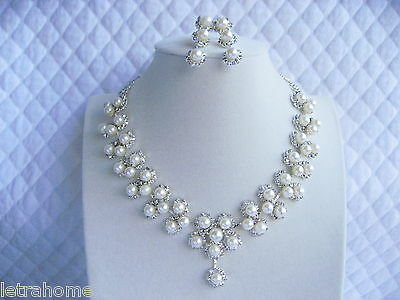 White Shell Pearl Flower Adjustable Necklace Clip on Earrings Sets Bride Wedding