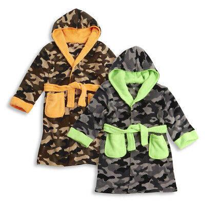 MINIKIDZ Kids Boys Camouflage Dressing Gown Robe Super Soft Comfy Warm Nightwear