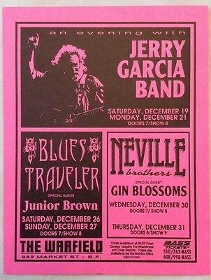 Bill Graham Presents: Jerry Garcia Band Handbill December 1992 Blues Traveler NM