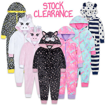 ONEZEE Infants Childrens Girls Novelty All In One Hooded Jumpsuit Stripe Spots