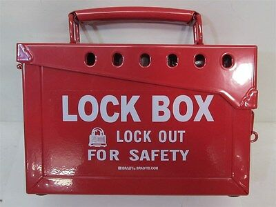 Brady Y434808, 13 Lock Portable Metal Lock Box - Red
