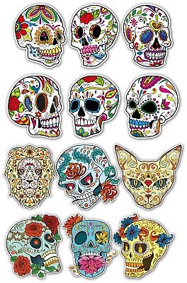 SUGAR SKULL STICKER SET Small 6X  Day Of The Dead Guitar Laptop Skulls Decals 2