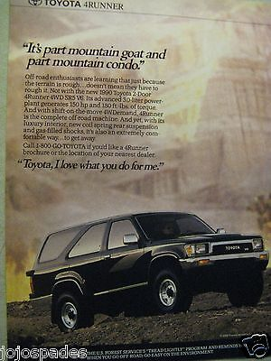 "1990 Toyota 4Runner Ad-8.5x10.5""Part Mountain Goat Part Condo-Original Print Ad"