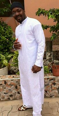 Odeneho Wear Men's White Shedda Kaftan With Bottom. African Clothing.