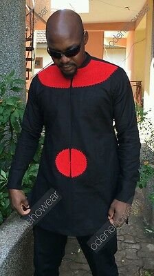 Odeneho Wear Black Polished Cotton Top &Bottom /Red Embroidery.African Clothing.
