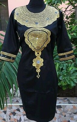 Odeneho Wear Ladies Black Polished Cotton Dress/Gold Embroidery.African Clothing