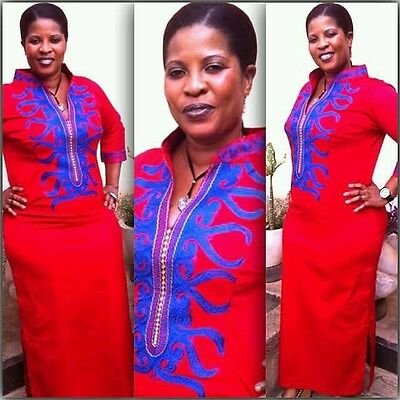 Odeneho Wear Ladies Red Polished Cotton Long Dress/Embroidery.African Clothing.