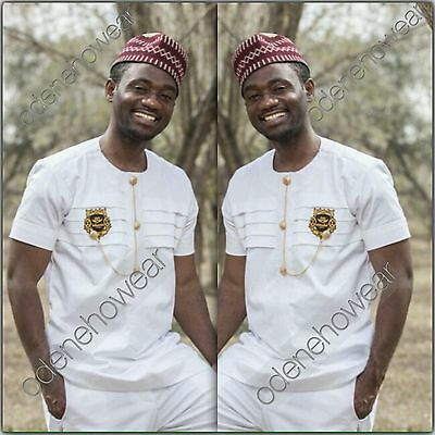 Odeneho Wear Men's White Polished Cotton Top And Bottom. African Clothing.