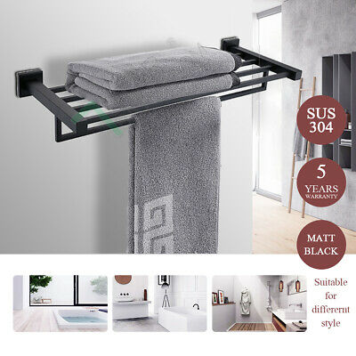 Towel Shelf Square Black Rack Rail Clothes Holder Stainless Steel Wall Bathroom
