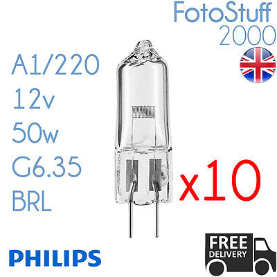10X Philips A1/220 12v 50w G6.35 BRL 2027 | Disco / Projector | Bulb / Lamp