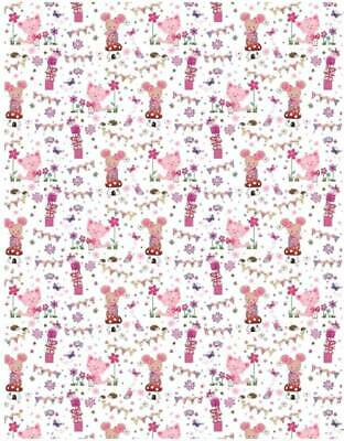2 Sheets Pink Lilac Owls & Flowers Birthday Wrapping Paper & 1 Matching Gift Tag