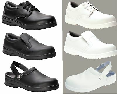 Work Boots S2 Safety Shoes Chefs Shoes White Black Lace Up Slipper Clog
