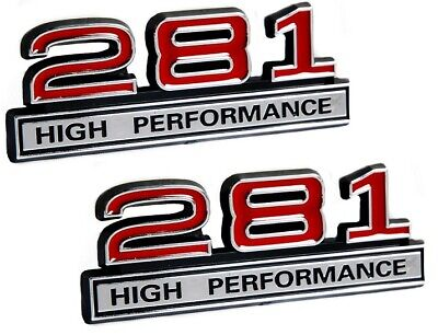 """281 4.6 Liter High Performance Engine Emblems in Red & Chrome - 4"""" Long Pair"""