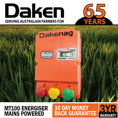 100km MAINS Electric Fence Energiser Energizer MT100 ENERGISER Farm Pet Animal