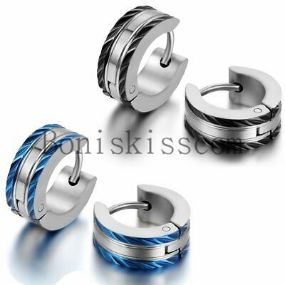 2Pcs 5mm Charm Stainless Steel Men's Women's Huggie Hoop Hinged Snap Earrings
