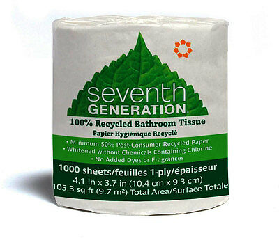 1-Ply Bathroom Tissue, Seventh Generation, 1000 sheets 1 Roll