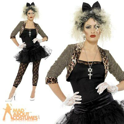 Adult 80s Wild Child Ladies Madonna Costume1980s Popstar Fancy Dress Outfit New