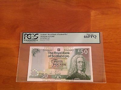 Scotland 50 Pounds 2005 P-367  Graded PCGS 66 GEM UNC