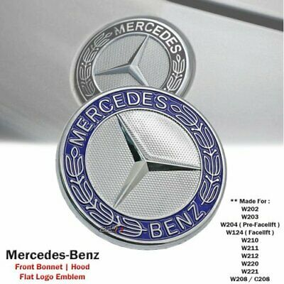 Flat Bonnet Hood Logo Emblem Badge For Mercedes Benz W124 W202 W203 W210 W220
