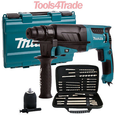 Makita HR2630 SDS+ 3 Mode Rotary Hammer Drill 240V + Extra Accessories