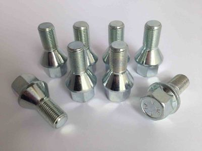M12 x 1.5, 28mm thread, tapered seat alloy wheel bolts. Set of 8