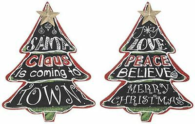 Christmas Tree Wall Plaque Blackboard wth Glitter Xmas Message Sold Separately