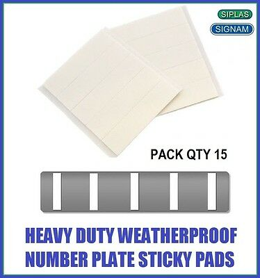 Qty 15 Signam 1mm Double Sided Self Adhesive Sticky Number Plate Pads Stickers