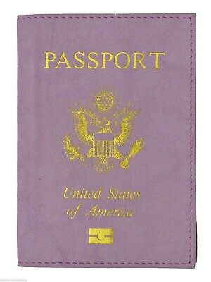 New Purple  USA Passport Cover Holder Wallet Travel Case