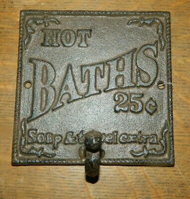 Rustic Brown Cast Iron Victorian Style HOT BATTH Wall Plaque Coat Towel Hook