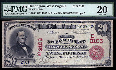 $20  1902 Red Seal  The First National Bank of Huntington, WV  CH# 3106  PMG 20