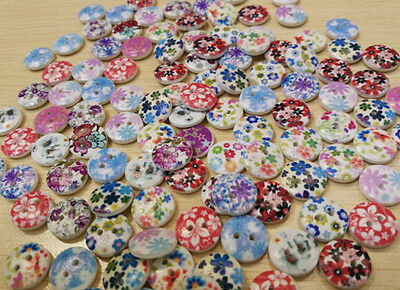 100 Pcs Mixed 2 Holes White Round Wood Buttons Sewing Scrapbooking 15mm DRUK