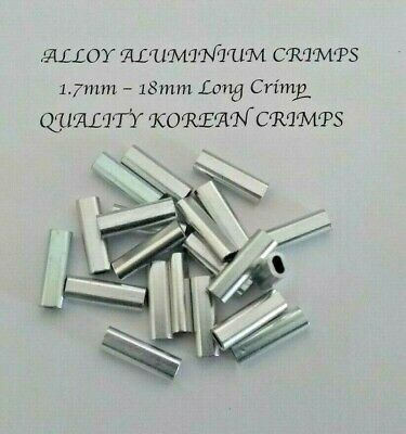 200 x 1.7mm ALLOY ALUMINIUM CRIMP 18mm LONG QUALITY GAME FISHING TACKLE CRIMPS