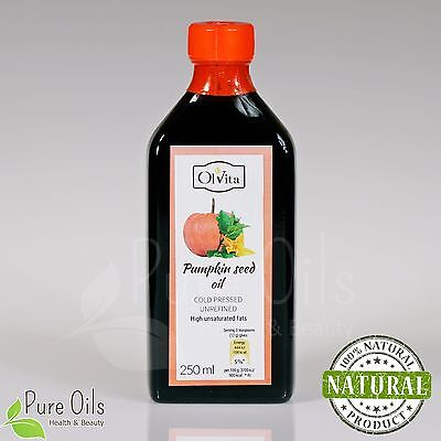 PUMPKIN SEED OIL - Cold Pressed, Unrefined 250 ml Ol'Vita - Olej z pestek dyni