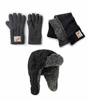 Scruffs Grey Knitted Winter Gloves, Trapper Hat and Scarf Set Vintage Thick Warm