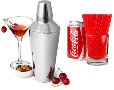 3 Piece Manhattan Cocktail Shaker Built In Strainer Stainless Steel 30oz