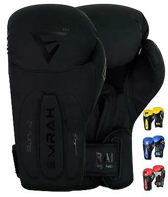 EMRAH Maya Leather Boxing Gloves Fight Punch Bag MMA Muay Thai Grappling Pads F9