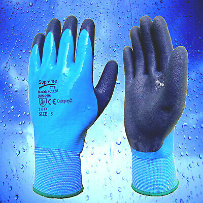 Lot of Fully Coated Latex Grip Gloves Wet Work Breathable Waterproof Aqua proof