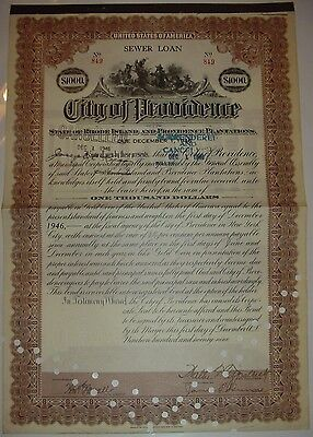 City of Providence $1,000 Sewer Loan Bond Stock Certificate