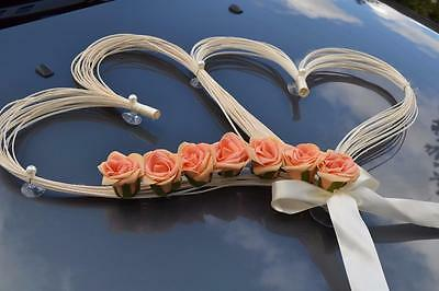 wedding car decoration, ribbon, bows, prom limousine decoration , coral r hearts