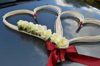 wedding car decoration,ribbon, bows, prom limousine decoration, ivory/red hearts